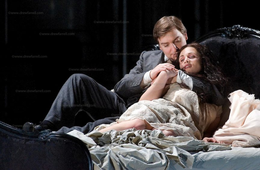 Picture shows : Carmen Giannattasio  as Violetta ValŽry and Federico Lepre as Alfredo Germont. La traviata by Giuseppe Verdi A NEW SCOTTISH OPERA AND WELSH NATIONAL CO-PRODUCTION. Picture © Drew Farrell Tel : 07721 Ð735041  Scottish Director David McVicar and Tanya McCallin, the creative team behind Scottish OperaÕs Der Rosenkavalier, offer an authentic take on one of the worldÕs most famous operas. Bohemian artists, showgirls, courtesans É the rich and the wretched mix together within the shady underworld of the Parisian demi-monde. Carmen Giannattasio makes her Scottish Opera dŽbut playing the lead role of Violetta, Federico Lepre sings Alfredo, and Richard Zeller returns to Scottish Opera as Giorgio Germont. French conductor  Emmanuel Joel-Hornak returns for this production.  Cast Carmen Giannattasio  as Violetta ValŽry Federico Lepre as Alfredo Germont Richard Zeller as Giorgio Germont Katherine Allen as Flora Bervoix Adrian Powter as Baron Douphol Nicholas Ransley as Gastone Paul Carey Jones as Marchese DÕObigny Alan Fairs as Doctor Grenvil Catriona Barr as  Annina  Conductors  Emmanuel Joel-Hornak and (Derek Clark Nov 13 & 15) Director David McVicar DesignerTanya McCallin ChoreographerAndrew George  THEATRE ROYAL GLASGOW Thu 30 Oct 7.15pm ¥ Sat 1 Nov 7.15pm ¥ Fri 6 Feb 7.15pm Sun 8 Feb 4pm ¥ Thu 12 Feb 7.15pm ¥ Sat 14 Feb 7.15pm La traviata Unwrapped - Thurs 5 Feb 6pm   EDEN COURT, INVERNESS Thu 6 Nov 7.15pm ¥ Sat 8 Nov 7.15pm  La traviata Unwrapped Ð Wed 5 Nov 6pm  HIS MAJESTYÕS THEATRE, ABERDEEN Thu 13 Nov 7.30pm ¥ Sat 15 Nov 7.30pm  La traviata Unwrapped Ð Wed 12 Nov 6pm   FESTIVAL THEATRE EDINBURGH Wed 19 Nov 7.15pm ¥ Sun 23 Nov 4pm  Thu 27 Nov 7.15pm ¥ Sat 29 Nov 7.15pm  La traviata Unwrapped - Tues 25 Nov 6pm   GRAND OPERA HOUSE, BELFAST Thu 26 Feb time tbc ¥ Sat 28 Feb La traviata Unwrapped Ð Fri 27 Feb time tbc  Note to Editors: This image is free to be used editorially in the promotion of Scottish Opera and this production. Without prejudice ALL other